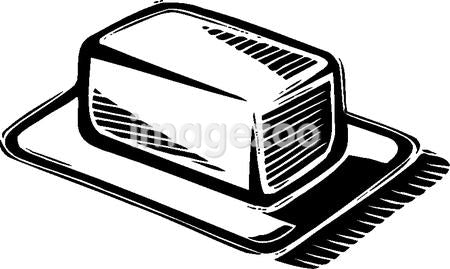 An illustration of a block of Butter in black and white