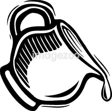 A drawing of a jar of creamer in black and white