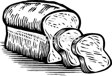 Sliced loaf of bread, black and white