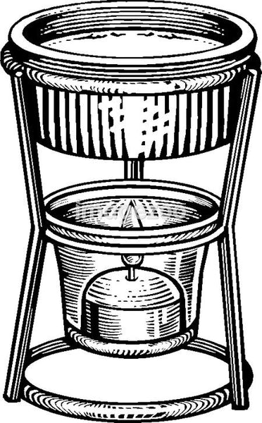 A drawing of a butter warmer