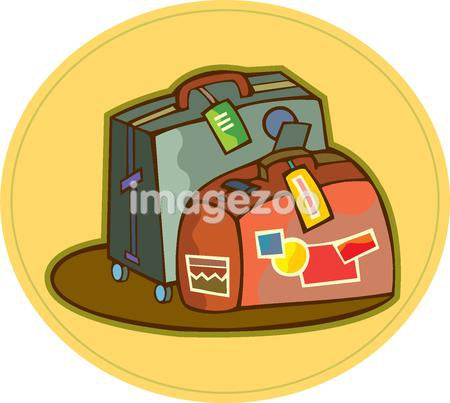 Two luggage with tags and stickers