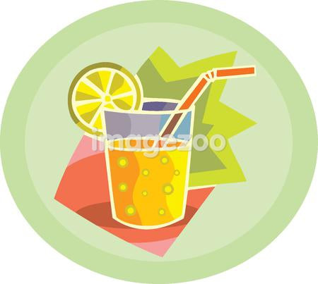 A fizzy drink with a slice of lemon and a straw