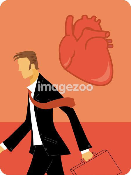 A businessman walking with his suitcase and a heart