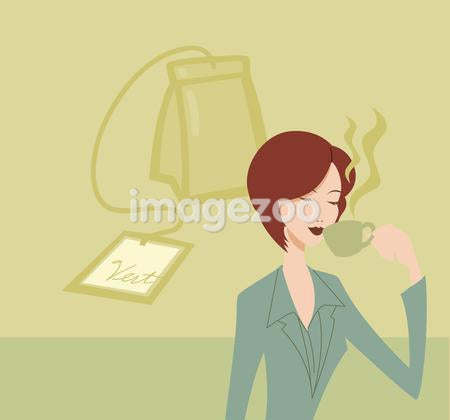 A woman drinking a cup of green tea and a green tea bag behind