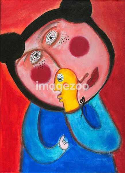 A naive painting of a child with a hand puppet