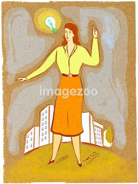 Illustration of a woman with a light bulb above her head
