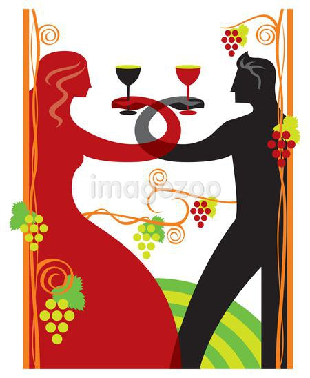 A couple toasting at a wine festival