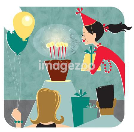 An illustration of a woman blowing out candles on a cake at her birthday party