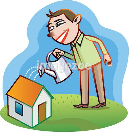 Illustration of a man watering his house