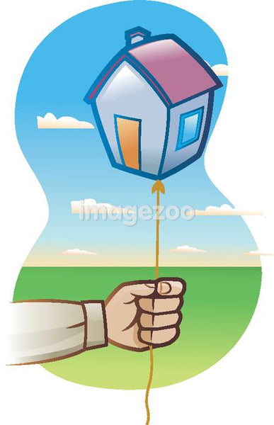 A man holding a balloon in the shape of a house
