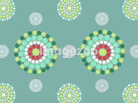 Graphic green and red mandala patterns