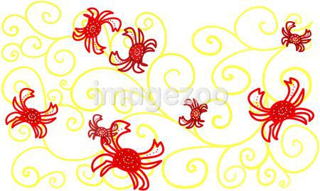 Whimsical drawing of crabs and yellow swirls