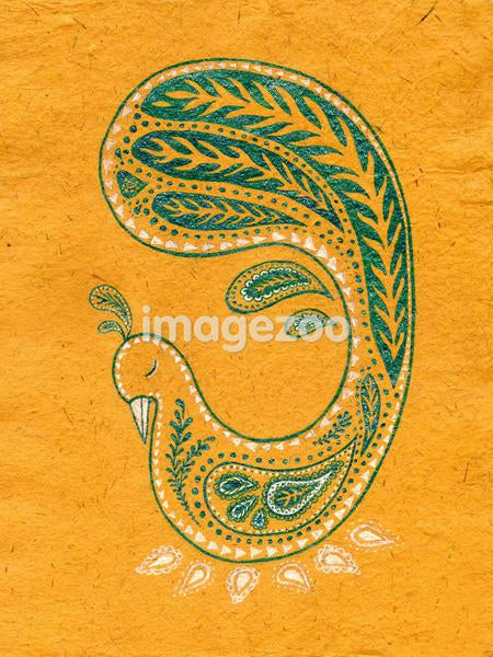 A peacock on a golden background