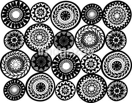 Black and white mandalas