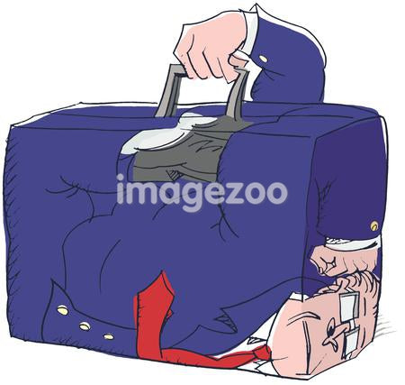 businessman stuck inside his briefcase
