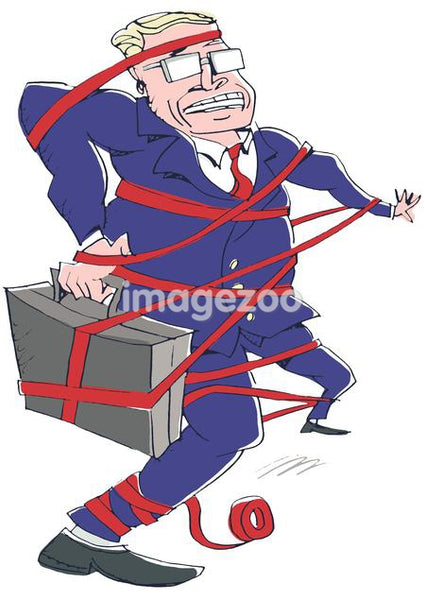 businessman caught in red tape
