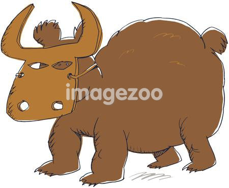 A drawing of a bear wearing bull mask