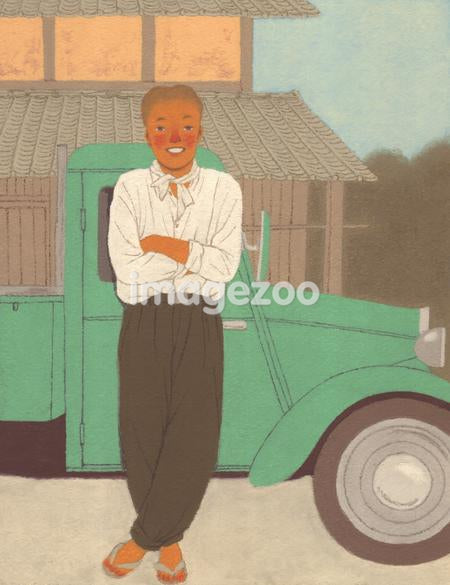 Illustration portrait of a young man leaning against a vintage car