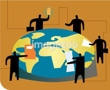 An illustration of a meeting at an  International round table