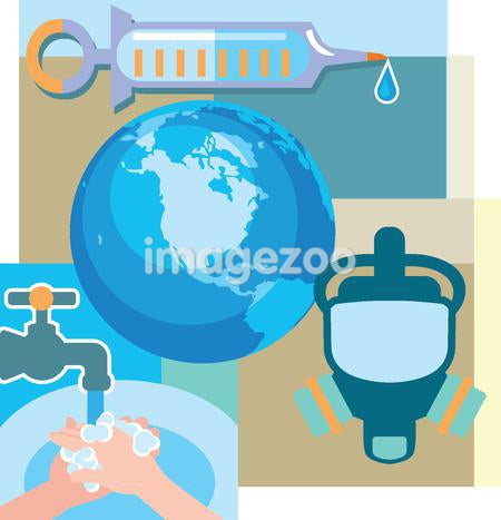 Collage of a syringe, the world, washing hands, and a gas mask