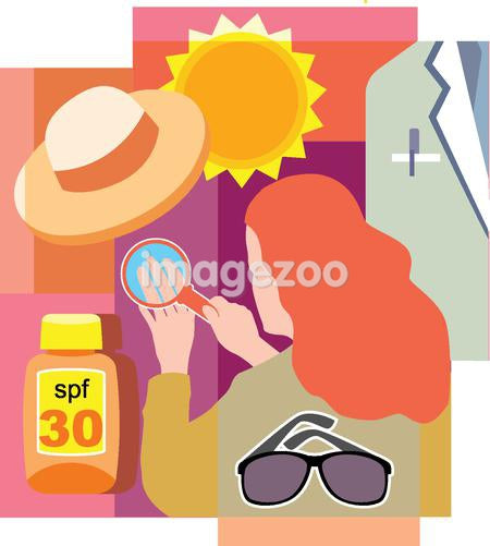 Collage of a sun, a hat, a doctor's white coat, sunglasses, sunscreen, and a woman looking at her skin under magnifying glass