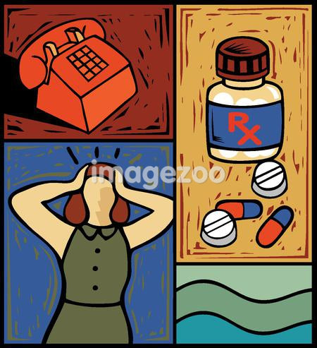 Montage of a telephone, a bottle of prescription medication, pills, and a woman holding her head