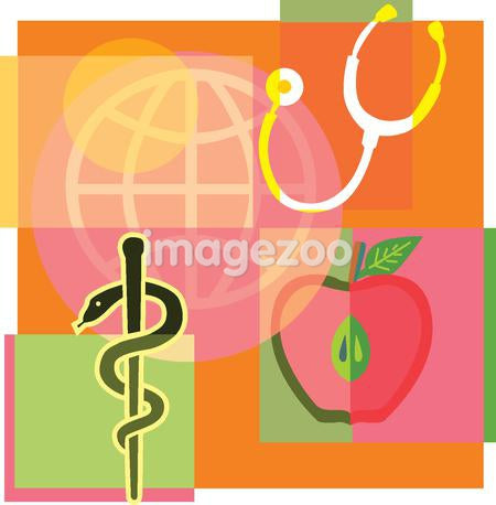 Montage illustration about world health containing an apple, stethoscope, a Staff of Asclepius and globe