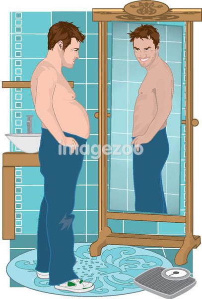 A man looking at a thinner version of himself at the mirror