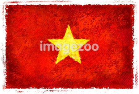 Drawing of the flag of Vietnam