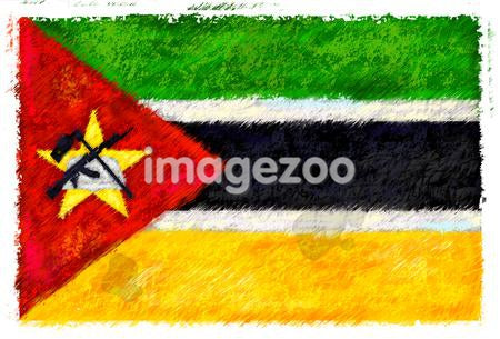 Drawing of the flag of Mozambique