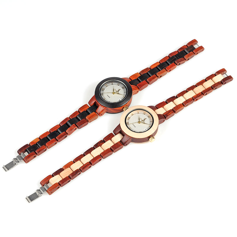 Two-tone Womens Wooden Watch with Box