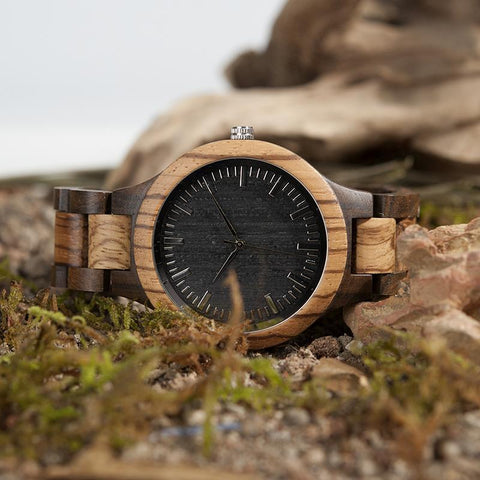 Zebra Wood & Ebony Mens Watch