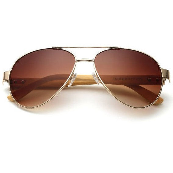 Nomad Brown Bamboo Pilot Sunglasses