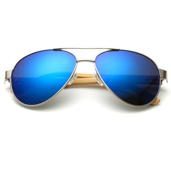 Aurora Bamboo Wood Pilot Sunglasses