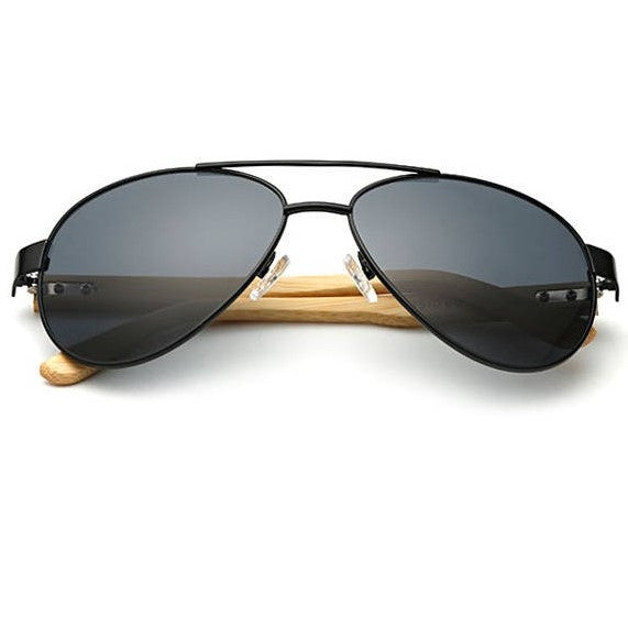 Midnight Black Bamboo Pilot Sunglasses
