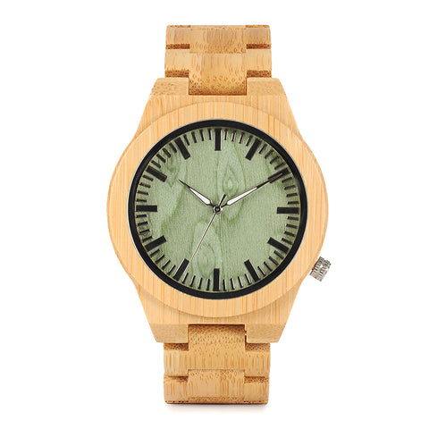 Men's Analog Bamboo Wood Wristwatch