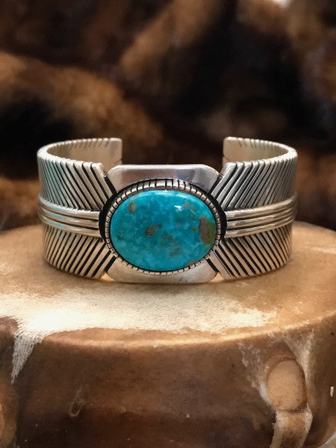 Kingman Turquoise in Sterling Silver Cuff