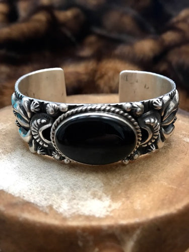 Onyx in Stamped Sterling Silver Cuff