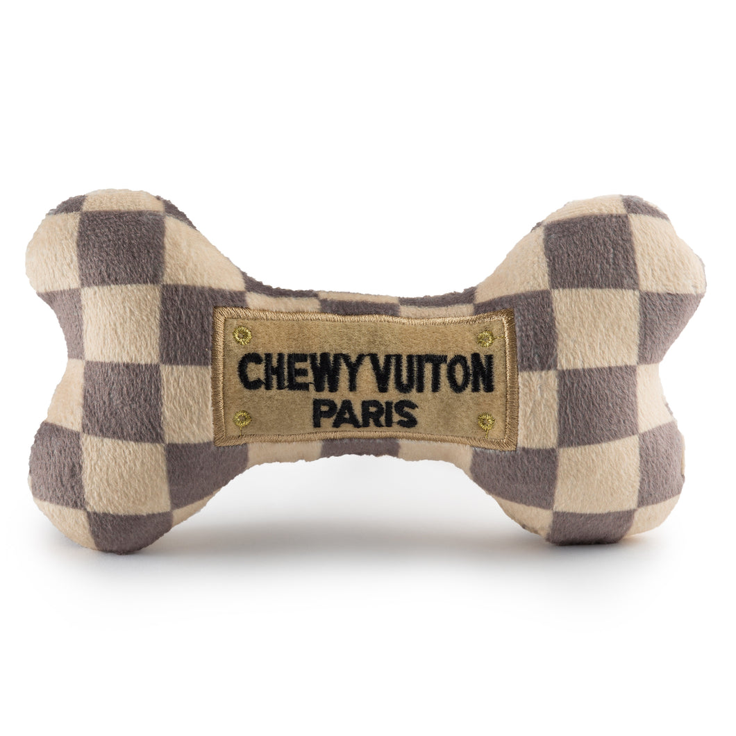 Checkered Chewy Vuiton Bone Toy