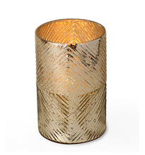 Gold Ribbed Hurricane Candle