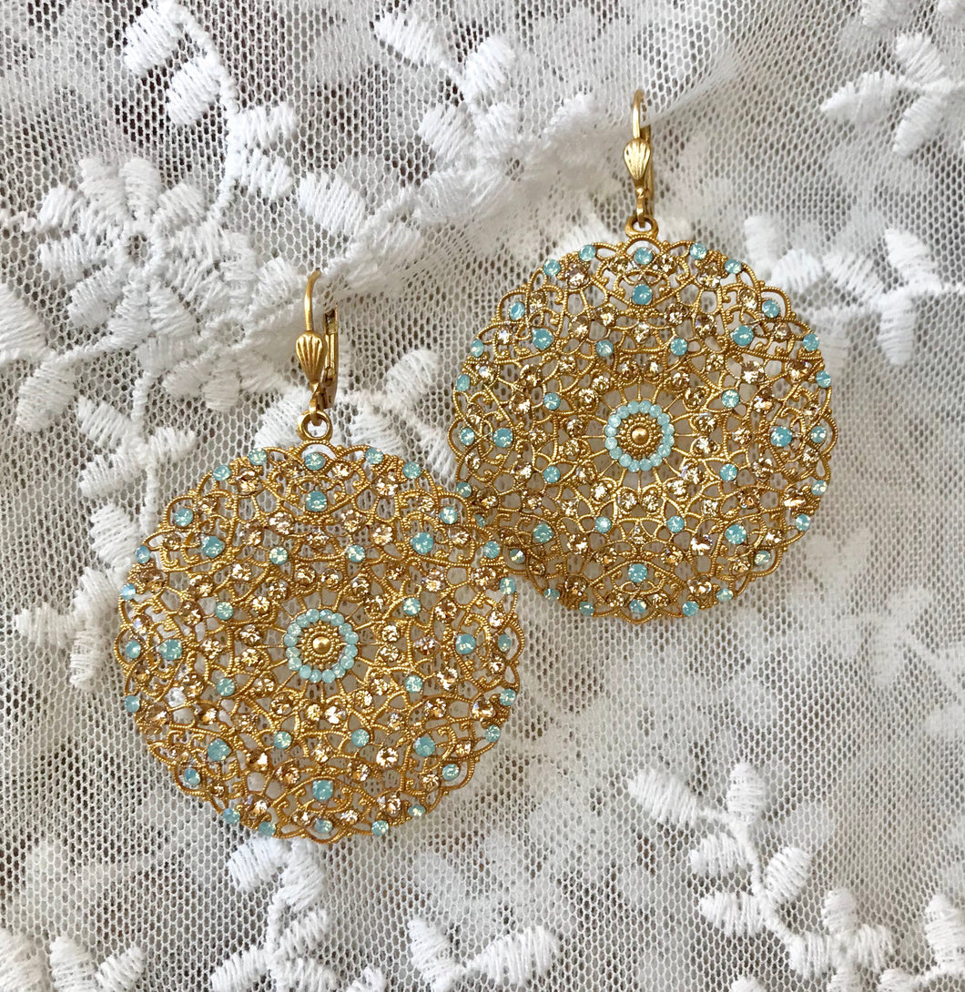 Parisian Medallion Crystals Earrings