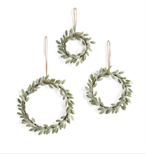 Lambs Ear Wreaths Ornaments, Set of 3