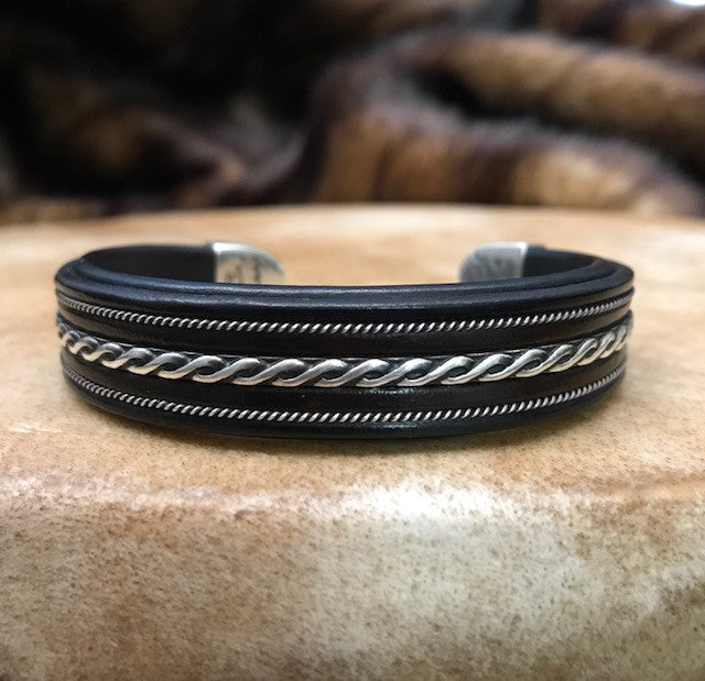 Men's Leather and Sterling Cuff