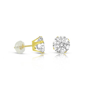 10k Gold Round Flawless Earring Stud