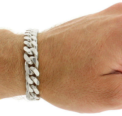 Silver Miami Cuban Link Bracelet With Box Clasp 10mm