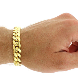 Solid Gold Miami Cuban Link Bracelet 10k & 14k Yellow Gold | 10mm