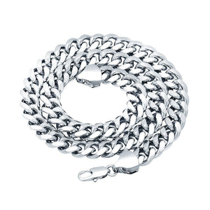 9mm White Gold Layered Miami Cuban Link Chain