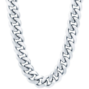 11mm White Gold Layered Miami Cuban Link Chain