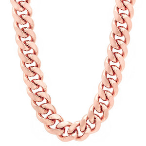 11mm Rose Gold Layered Miami Cuban Link Chain