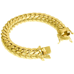 Solid Gold Miami Cuban Link Bracelet 10k & 14k Yellow Gold | 12mm